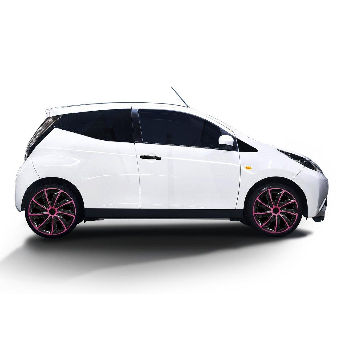 (diferentes tamaños) Tapacubos QUAD BICOLOR (Negro de color rosa) apto para casi todos los tipos de vehículos (universal) 1 pieza: Amazon.es: Coche y moto