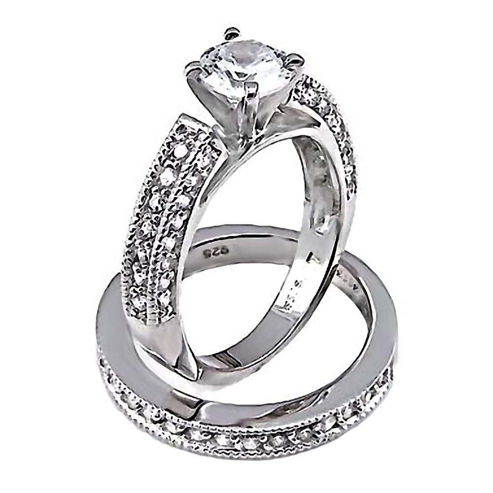 Amazon Deanna 24ct Ice On Fire Cz 2 Pc Bridal Wedding Ring Set 925 Sterling Silver 3100b Jewelry: 2 Pc Wedding Ring Sets At Reisefeber.org