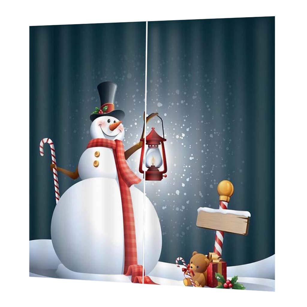 Homyl Tende Oscuranti 3D Drappeggio Pannello per Soggiorno Finestra Camera da Letto - Albero di Natale Decorativo