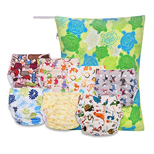 GHB Cloth Pocket Diapers for Baby 15 Piece Baby Gift Set 7 Pack Pocket Diapers 7 Bamboo Inserts 1 Wet Bag