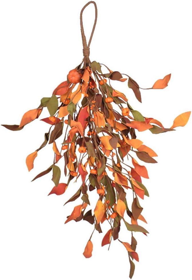 Pursuestar 60cm 23inch Fall Pumpkin Harvest Door Swag Wreath DIY for Front Door Lamp Ear Wall Decor Autumn Halloween Thanksgiving Day