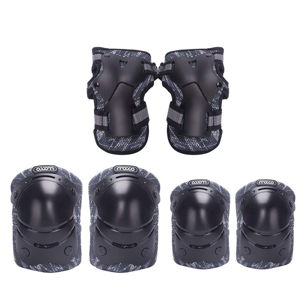 LIQICAI Kids Protective Gear Set 3 in 1 Outdoor Sports Safety Equipment Child Knee/Elbow Pads Wrist Guards for Roller Scooter Skateboard Bicycle (Color : Black, Size : S)