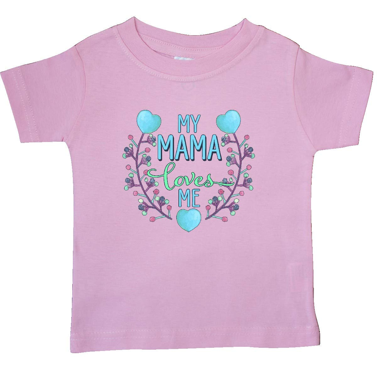 Painted Flowers and Hearts Baby T-Shirt inktastic My Mama Loves Me