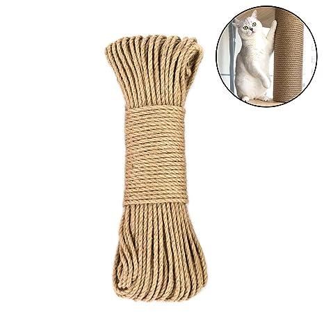 Amakunft Cuerda de cáñamo para árbol de Gatos y Torre, rascador de Gatos DIY Cuerda