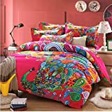 FADFAY Home Textile,Peacock Print Bedding Set,Peacock Feather Bedding Sets,Boho Style Bedding,Queen,4Pcs