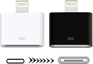 [MFi Certified] Lightning 30-Pin Adapter,Sharllen 2Pack iPhone 8Pin Male to 30Pin Female Charging&Sync Converter Connector Compatible iPhone 12 11 X 8 7 6P 5S 4S 4 3 3G,iPad White & Black(No Audio)