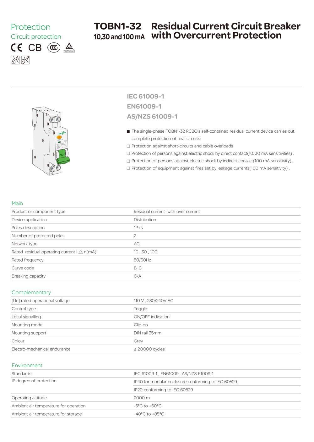 Disjoncteurs Type A 6KA 18mm RCBO 16A 10mA 30mA 100mA Disjoncteur /à courant r/ésiduel avec diff/érentiel de protection contre les surintensit/és et les fuites-30mA/_C25-100mA/_C6
