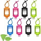 8 PCS Hand Sanitizer Holder, 60ml/2oz Travel Bottles with Keychain Silicone Sleeve, Empty Leakproof Squeeze Containers…