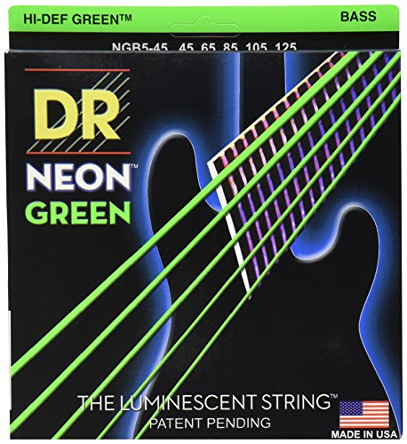 - DR Strings NGB5-45 Coated Nickel Bass Guitar Strings, Medium