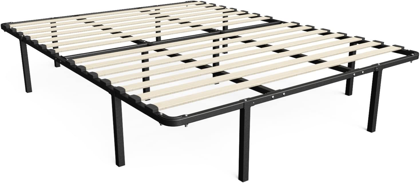 Zinus Cynthia 14 Inch MyEuro SmartBase Wooden Slat Mattress Foundation Platform Bed Frame Box Spring Replacement, King