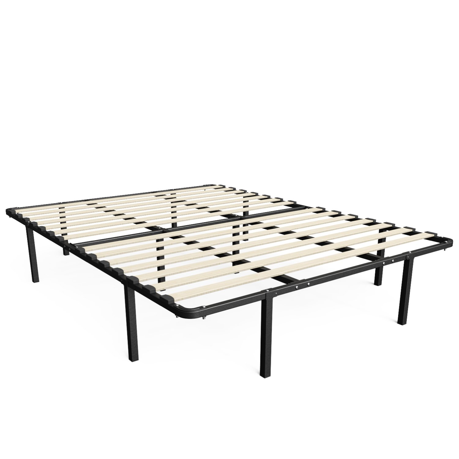 zinus 14 inch myeuro smartbase wooden slat mattress foundation platform bed frame box spring replacement queen - Bed Frames Queen