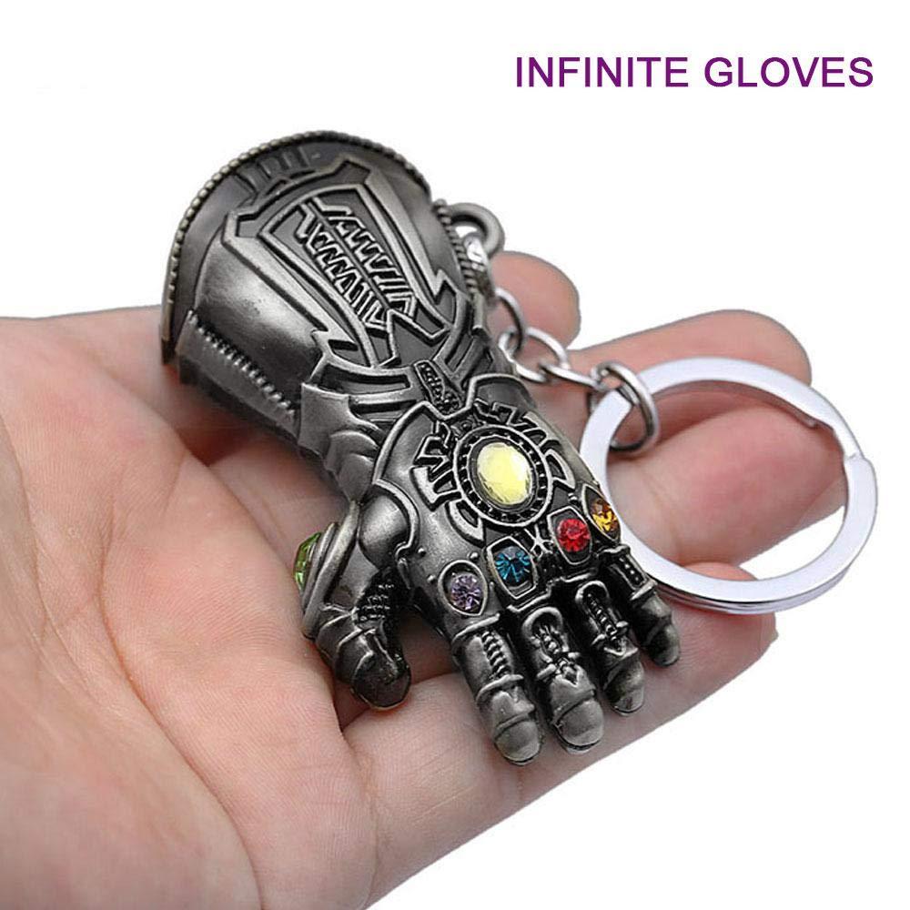 KOBWA personnalisé Fantaisie Porte-clés – Infinity War Gauntlet Avengers Porte-clés Pendentif en métal Cadeau, Multi Couleur Argenté
