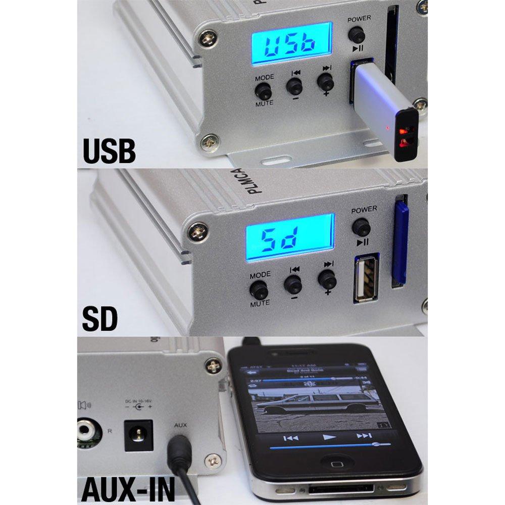 "Amazon.com: Motorcycle Speaker and Amplifier System - 100 Watt Weatherproof  w/Two 3"" Waterproof Speakers, AUX IN - Handlebar Mount ATV Mini Stereo  Audio ..."