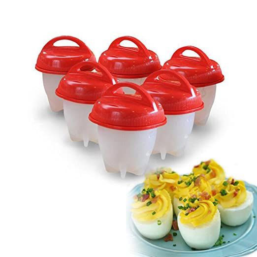 Amazon.com: 6pcs silicona antiadherente olla de huevo tazas ...