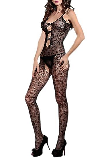 1513a5df3dd Amazon.com  Women Sexy Bodystocking One Piece Fishnet Hollow ...