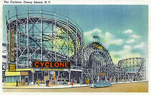 Coney Island, New York - View of the Cyclone Rollercoaster # 2 - Vintage Halftone (12x18 Art Print, Wall Decor Travel ()