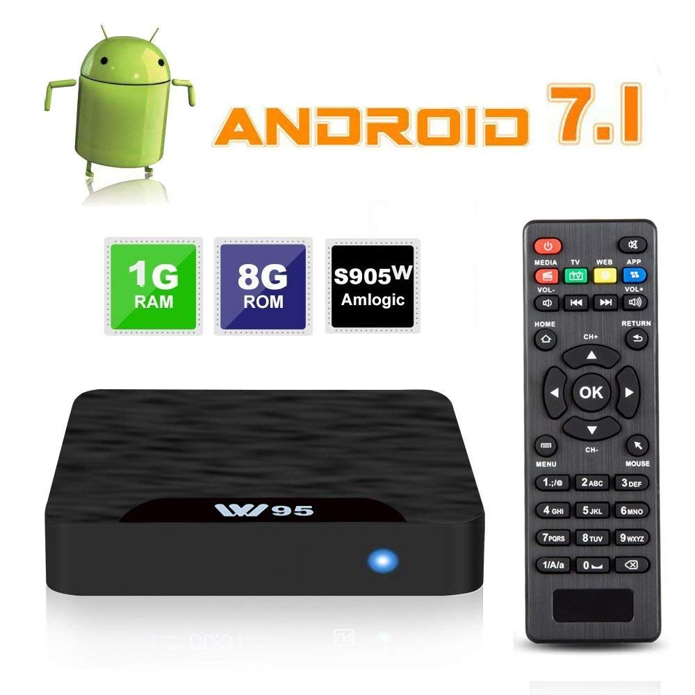 7.1 Android TV Box - J-DEAL W1 Newest Android 7.1 Smart TV Boxsets, Amlogic S905W Quad-Core, 1GB RAM & 8GB ROM, 4K Ultra HD, Support Video Encoder for H.264, 2.4GHz WIFI, Web TV Box + Remote Control