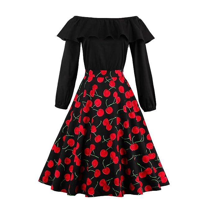 iBaste Vintage Vestidos Hombro de la Palabra Impresión de la Cereza Vestido Ajustado Falda con Vuelo. Pasa el ratón por ...