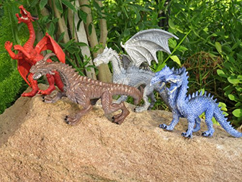 Educational Dragon Toys 4 pack - 8'' - 9'' realistic toy dragon figures for cool kids and toddler education! Great gift set and party favors! by Wonders-Shop