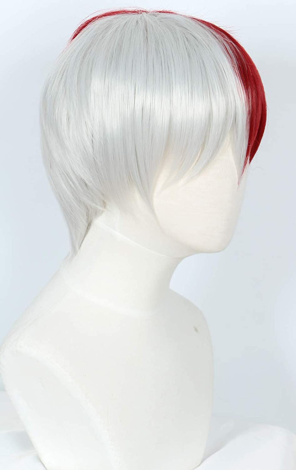 Linfairy Half Red and Sliver Wig Halloween Costume Cosplay Wig Short Wig