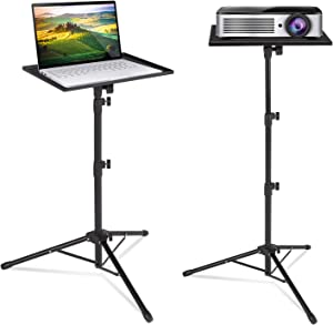 Klvied Projector Tripod Stand, Universal Laptop Tripod Stand, Portable DJ Equipment Stand, Folding Floor Tripod Stand, Outdoor Computer Table Stand for Stage or Studio, Height 23 to 63 Inch (b)