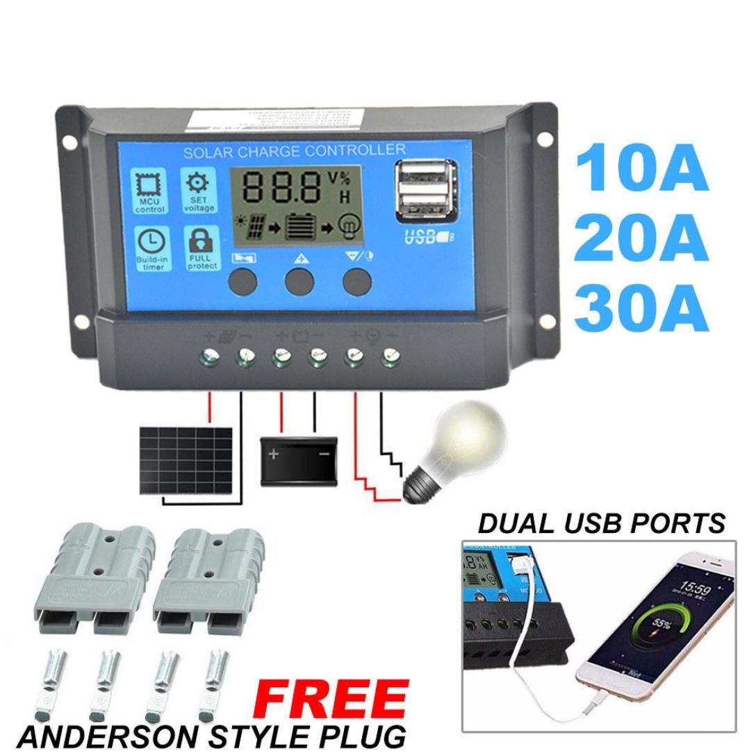 YUYOUG 10A/20A/30A 12V-24V Solar Charge Controller Charge Regulator Intelligent, Display Overload Protection Temperature Compensation+ 2 x Anderson Plugs (10A)