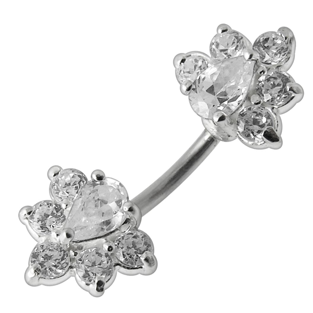 Clear CZ Stone Studded Orchid Flower 925 Sterling Silver Double Side Belly Button Ring Jewelry