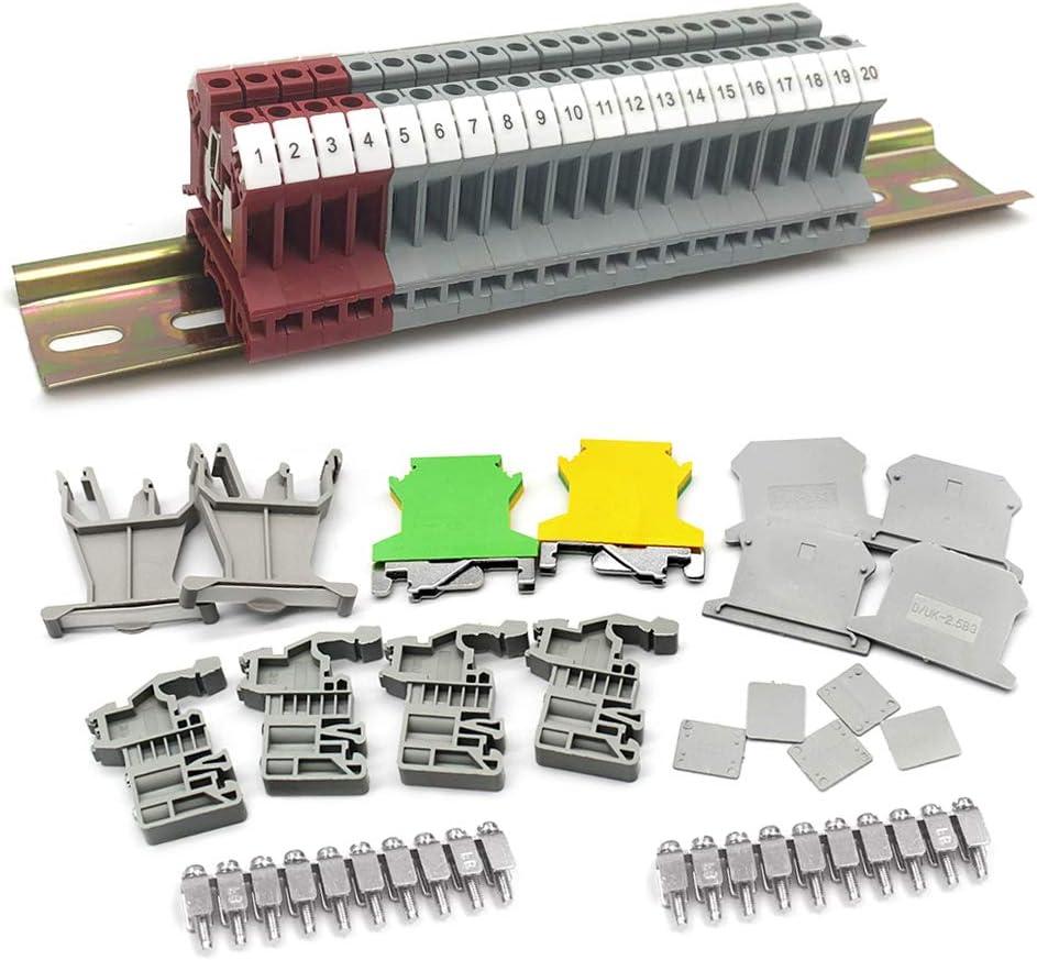 Din Rail Terminal Blocks Kit Mila-Amaz Universal Class Terminal Blocks UK-2.5N 12 AWG Blocks