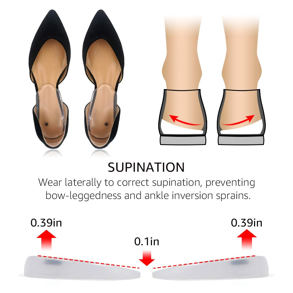 Dr. Shoesert Supination & Overpronation Shoe Insoles for O/X Leg, Medial & Lateral Heel Wedge Corrective Gel Inserts for Men and Women (Beige+Black+Clear, 3 Pairs)