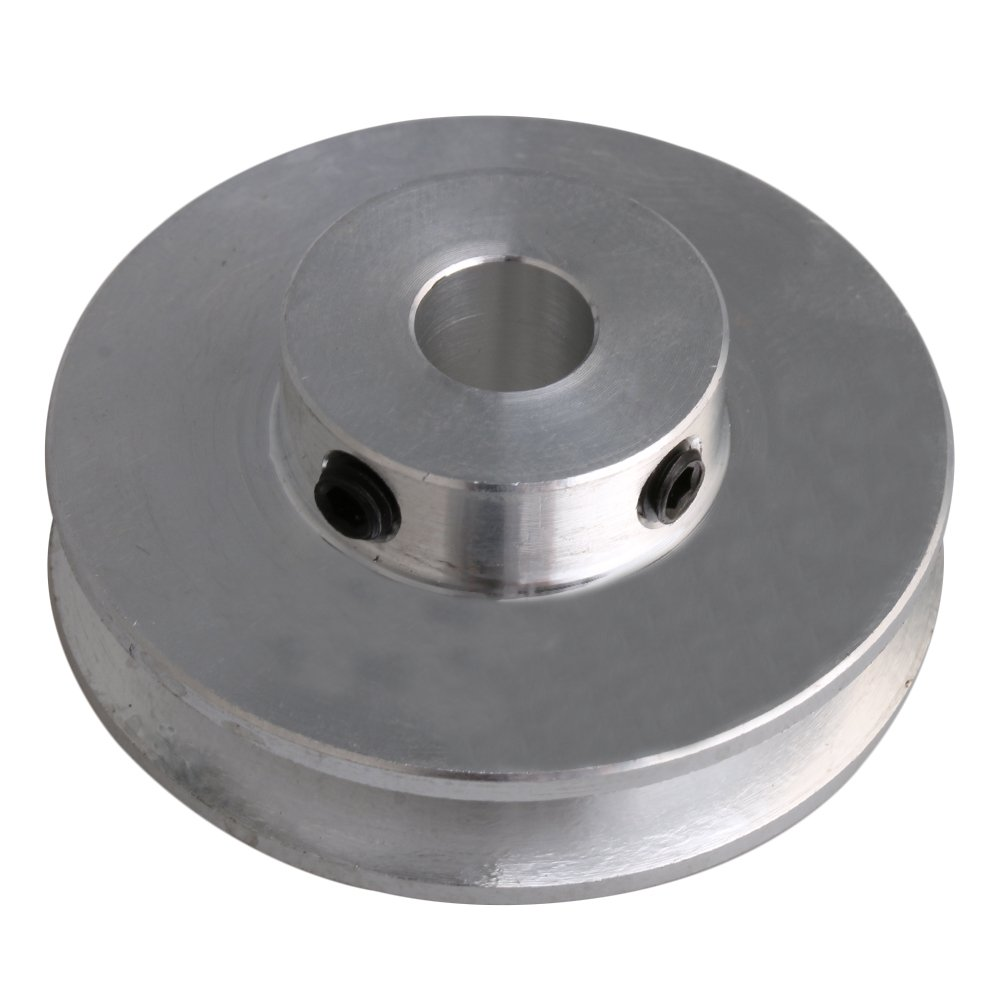 BQLZR 41x16x8MM Silver Aluminum Alloy Single Groove 8MM Fixed Bore Pulley for Motor Shaft 3-5MM PU Round Belts