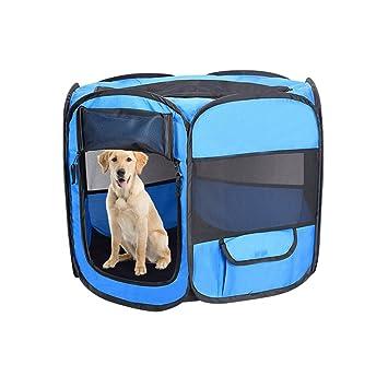 Aolvo Perro Playpens interior al aire libre, portátil plegable mascota perro gato juguete bolígrafos de ejercicio ...