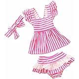 HelloGO 水着 子供 女の子 かわいい ピンク/ブルー 温泉 プール ミズギ セパレート 頭飾り付きの3点セット