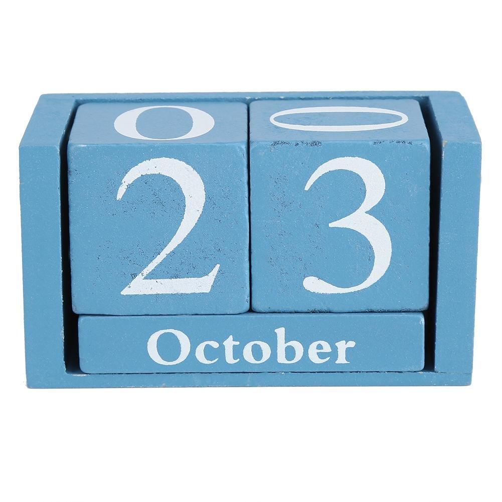 Wood Block Calendar, Classic Wooden Calendars Stylish Desktop Wood Block Time Home Office Decoration Friends Gifts(Blue) GLOGLOW