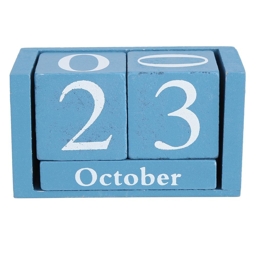 YosooXX European Perpetual Wooden Calendar Desktop Block Wood Calendar DIY Yearly Planner Pen Holder Desk Office Stationery(Blue)