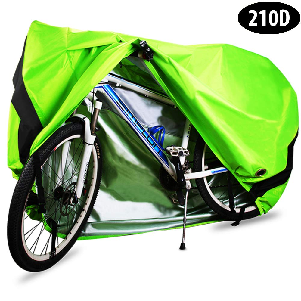 Bike Cover, 210D Heavy Duty Outdoor Waterproof Bicycle Covers UV Dust Sun Wind Proof with Lock Hole Protection for Mountain Road Bikes (Green) by HCFGS