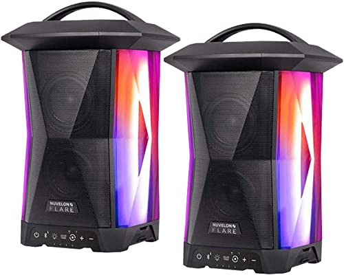 Nuvelon Flare Multi Sync Wireless Speakers with Ambient Lighting and Rhythm Light Pulsing LED Lights – 2 Pack
