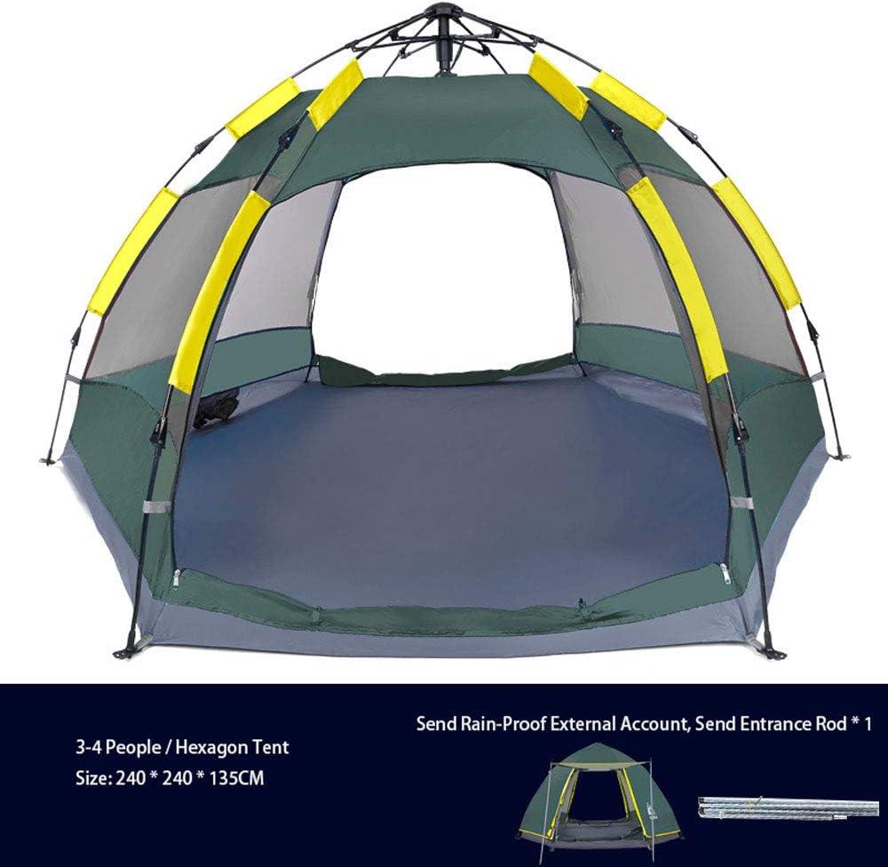 3-4 Persona Hexágono Tienda De Campaña, Tienda De Campaña, Senderismo, Impermeable Refugios De Sol con Bolsa De Transporte para Picnic (240X240X135CM),Azul Green