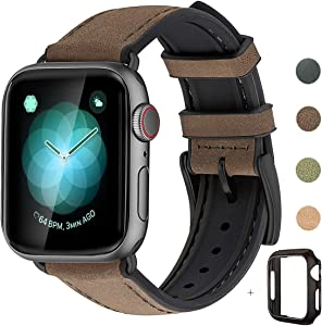 WFEAGL Compatible with Apple Watch Band 42mm 44mm, Waterproof Hybrid Genuine Leather Silicone Sweatproof Strap for iWatch SE & Series 6 5 4 3 2 1 Sports Edition (Coffee Band+Black Connector)