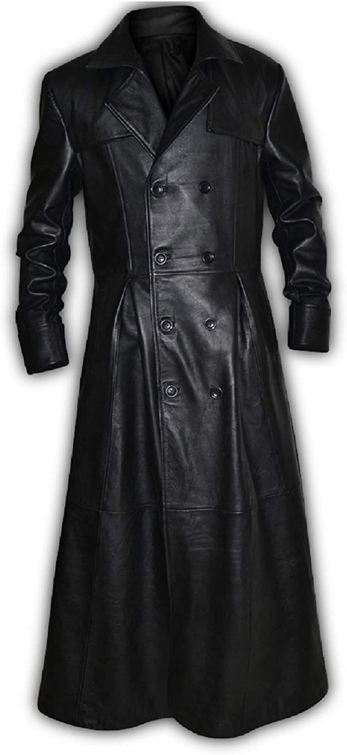 Mens Black Slim Fit Genuine Leather Double Breasted Gothic Trench Long Coat At Amazon Men S Clothing Store