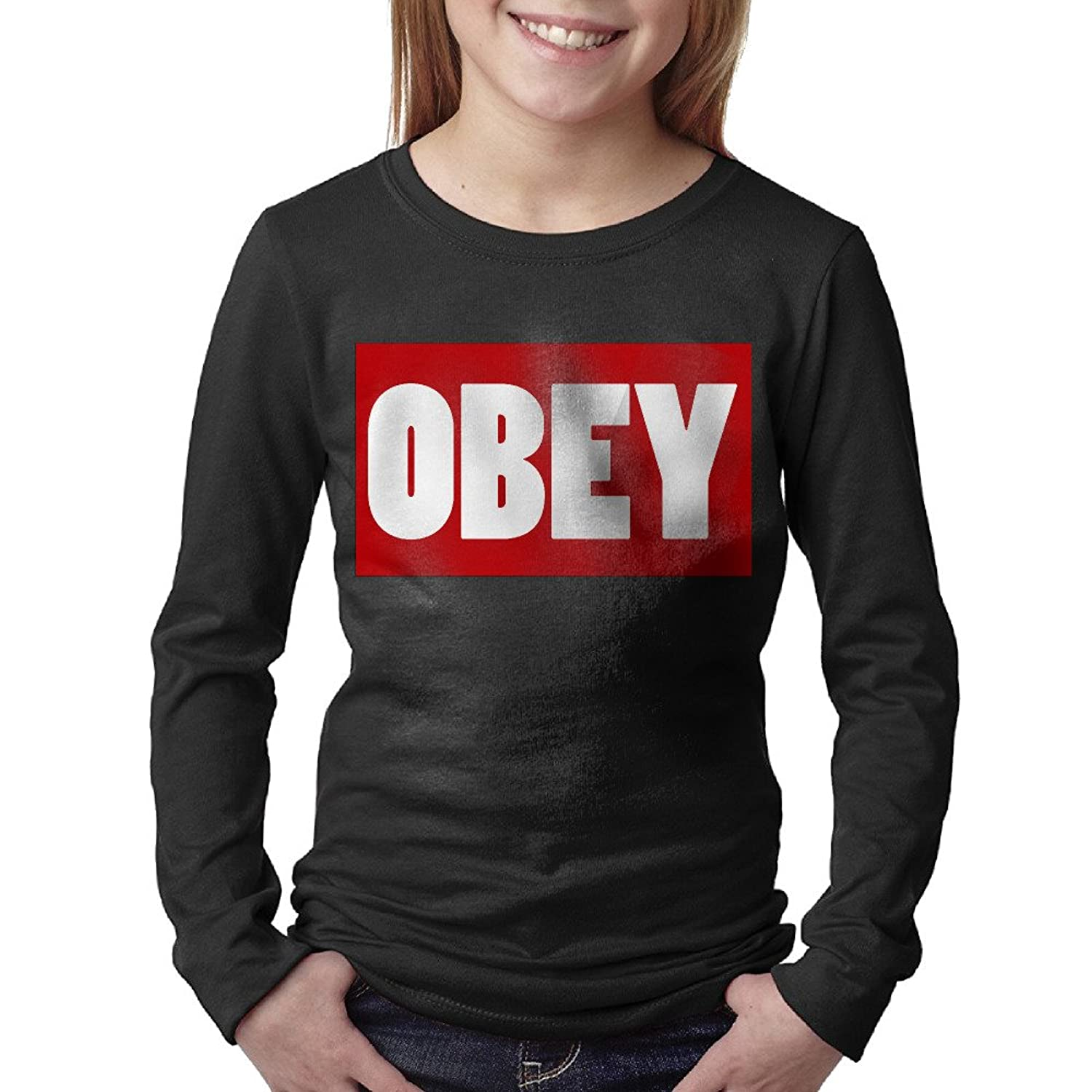 Teen Obey Classic Design Long Sleeve O-neck Tee Shirts Winter Autumn
