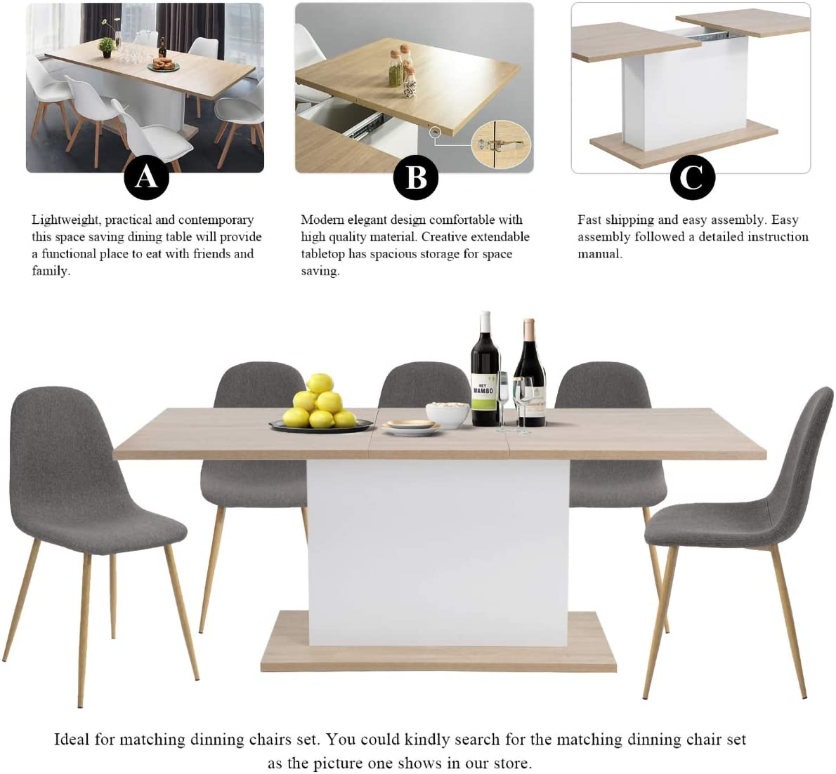 Geniqua Extendable Dining Table 4-8 Seaters Kitchen Furniture Modern Beech Wood Board