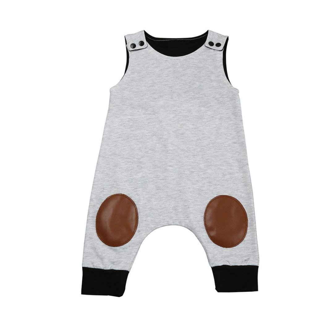Outfits Sets Kind Janly 0-2 Jahre alten Jungen ärmelloses Overall Neugeborenen Strampler (0-6 Monate, Grau)