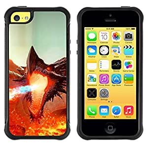 LASTONE PHONE CASE / Suave Silicona Caso Carcasa de Caucho Funda para Apple Iphone 5C / Fierce Smaug Fire Dragon