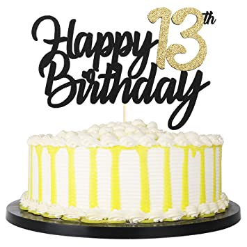 Admirable Amazon Com Palasasa Black Gold Glitter Happy Birthday Cake Topper Funny Birthday Cards Online Elaedamsfinfo