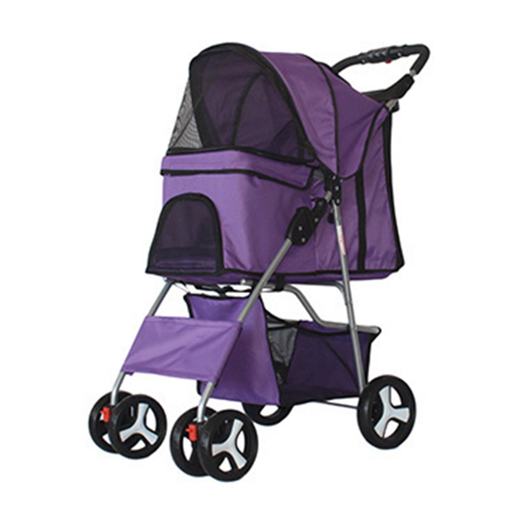 Four Wheel Pet passeggino leggero pieghevole Zipperless entrata passeggiare Carrier carrello per piccole e medie animali. Cacoffay, viola