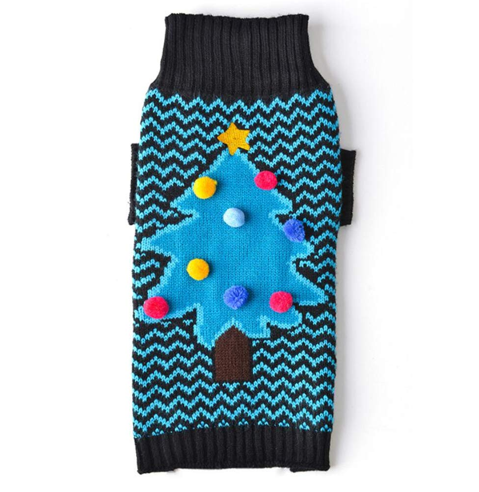 M Delifur Dog Ugly Sweater Dog Christmas Sweater Dog Christmas Jumper Dog Christmas Tree Sweaters Pet Sweater Sweatshirt for Small Dogs Cat Puppy (M)