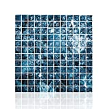 "Cocotik Peel and Stick Tile Blue 3D Kitchen Backsplash Tile 10""x10"",Pack of 6"
