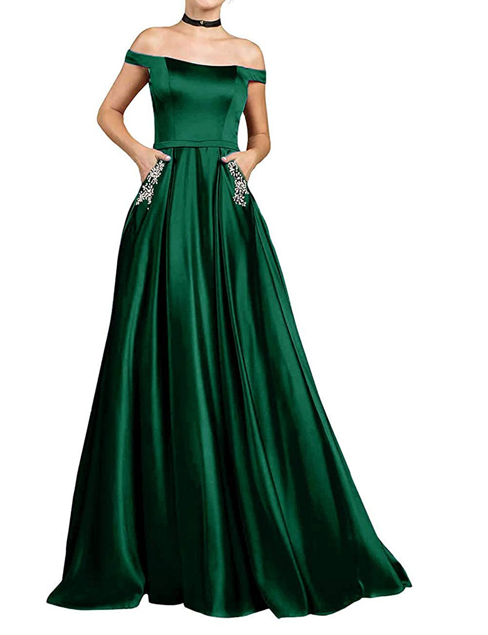 Dark Green JAEDEN Prom Dresses Long Formal Evening Gowns with Pocket Off The Shoulder Prom Dress A line Evening Dresses