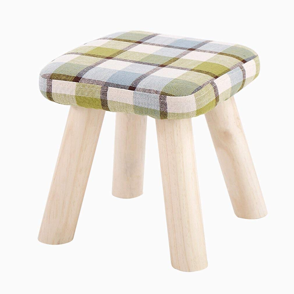 Green Ronggoutrade Small Stool, Creative Stool Fabric Short seat Sofa Stool Solid Wood shoes Bench Small Bench - Small Stool (color   bluee)