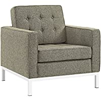Modway EEI-2050-OAT Loft Upholstered Fabric Mid-Century Modern Accent Arm Lounge Chair Oatmeal